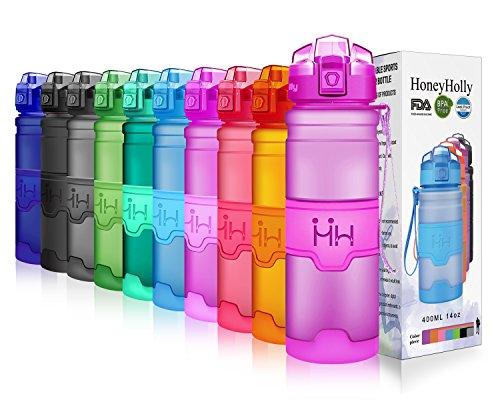 HoneyHolly Sport Trinkflasche - 25oz / 700ml - BPA frei dicht und umweltfreundlich - Für Gym, Laufen, Yoga, Camping, Outdoor, Männer, Frauen & Kinder - One Handed Open & Tritan Trinkflaschen aus Kunststoff mit Filter (0.7 Liter, Matte Lila)