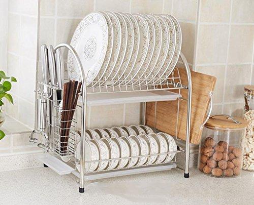 &étagère de rangement Bowl Shelf Leakage Rack 304 en acier inoxydable incorporé étagère de cuisine Mettre Air Plate vaisselle Frame Bowl baguettes ustensiles de cuisine fournitures 2 Couche Rack de fi