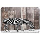 Violetpos Fußmatte Fussmatte Home Innen & Außen Schmutzmatte Mat Schwarz-Weiß-Zebra Streifen Tarnung Holzmaserung 40 x 60 cm