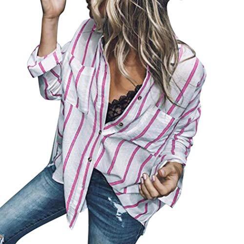 TianWlio Langarmshirt Damen Frauen Mode Gestreift Lange Ärmel -