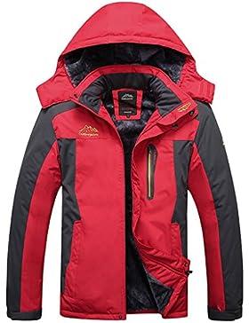 Sawadikaa Hombre Chaqueta de Esquí Alpinismo Al Aire Libre Impermeable Chaqueta de Nieve Lana Capa Excursionismo...