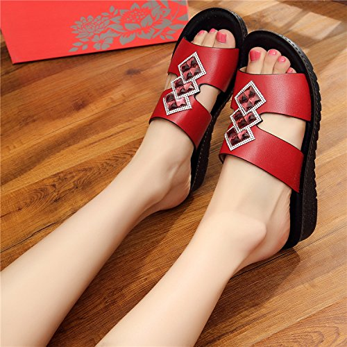 ZYUSHIZ Mme Chaussons Télévision à fond plat Cool en cuir souple Chaussons Sandales Loisirs Red