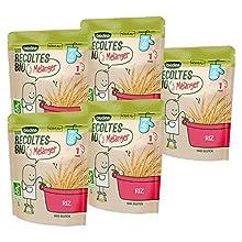 Blédina - Les récoltes bio à mélanger - Les riz Bio pour bébé - Pack de 5 x 180g - Dès 6 mois