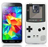 "Samsung Galaxy S5 Hülle Silikonhülle (TPU) Case Cover - ""Retro Gameboy"" Muster Schutzhülle für Samsung Galaxy S5 Weiß"