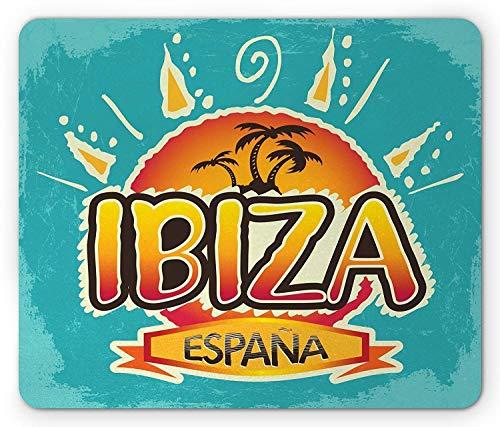 BGLKCS Ibiza Mouse Pad, España Text with Summer Season Warm Beaches and Sun on Grunge Backdrop, Standard Size Rectangle Non-Slip Rubber Mauspads, Pale Blue Orange Brown