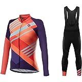 Sports Wear Uglyfrog Maillot de Ciclismo de Mangas Largas Invierno Thermal Fleece con Culotes para Mujer, Sets Ropa Ciclismo,