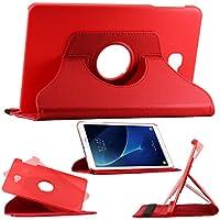ebestStar - pour Samsung Galaxy Tab A 2016 10.1 T580 T585 (A6) - Housse Coque Etui PU cuir Support rotatif 360°, Couleur Rouge [Dimensions PRECISES de votre appareil : 254,2 x 155,3 x 8,2 mm, écran 10.1'']
