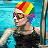 Gebrb Rainbow Paint Dripping Lycra Cuffie da Nuoto,Cuffie da Bagno,s Bathing And Shower Hair Cover Ear Protection for Long Hair & Thick Hair & Curly Hair, Easy to Put On And off