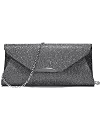 Evening Bag Clutch Handbags Envelope Purse For Women Flap Glitter With Chain Strap For Wedding Party Gray