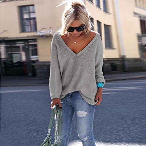 OverDose Damen Frauen Strick Pullover lose Strickjacke Pullover Tops feste Farbe Strickwaren Grau