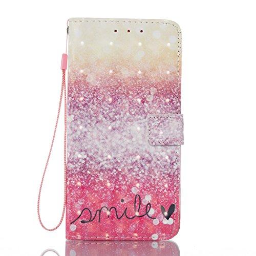 Qiaogle Téléphone Coque - PU Cuir rabat Wallet Housse Case pour Apple iPhone 5 / 5G / 5S / 5SE (4.0 Pouce) - YB58 / Bleu Attrapeur de rêves YB52 / Smile