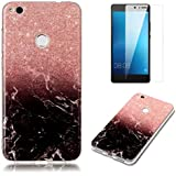 """For Huawei P8 Lite 2017 (5.2"""") Marble Case With Screen Protector ,OYIME Creative Glossy Brick Red & Black Marble Pattern Design Protective Bumper Soft Silicone Slim Thin Rubber Luxury Shockproof Cover"""