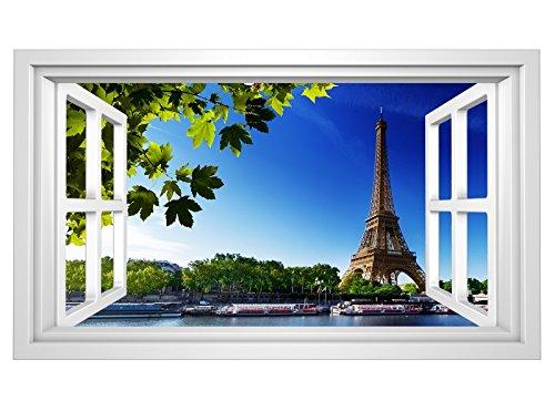3D Wandmotiv Paris Fenster Skyline Eiffelturm Bildfoto Wandbild Wandsticker Wandtattoo Wohnzimmer Wand Aufkleber 11E326, Wandbild Größe E:98cmx58cm - Paris-wand-aufkleber