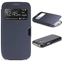 Urcover® View Case Handy Schutz-Hülle | Samsung Galaxy S4 Mini | Hart Kunststoff Dunkel Blau | Elegant Wallet Cover Sicht-Fenster | leichte Schale dünne Tasche
