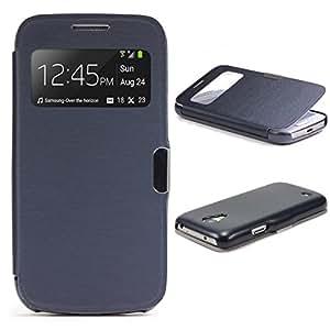 Original Urcover®  Custodia a portafoglio per Samsung Galaxy S4 - [Mini Company View] [TPU] [PC] [Chiusura Magnetica] [Finestra S-View] - Case Samartphone Cover Telefonino Cellulare [ Blu ]