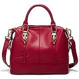 QI WANG Véritable Sacs à main souple Top Handle Sacs en cuir pour dames Designer Sacs à main pour femmes (Rouge)