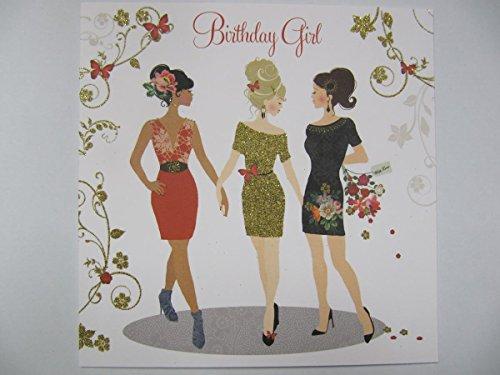Beautiful Colorato ricoperte di brillantini Party Dress Compleanno biglietto di auguri
