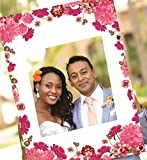 #2: SYGA Floral Photo Booth Props Frame and Signage, Use for any Party or Event