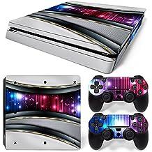 46 North Design Ps4 Slim Playstation 4 Slim Pegatinas De La Consola Silver Galaxy + 2 Pegatinas Del Controlador