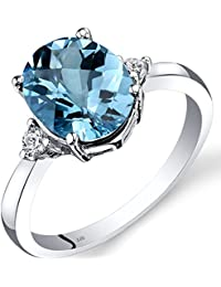 Revoni 14ct White Gold Swiss Blue Topaz Diamond Ring 2.75 Carat Oval Cut
