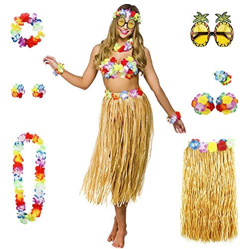 Yigoo Hawaii Hula Bikini kostüm Set Party Deko * 8 für Hula Luau Party- Halskette Armbänder Stirnband Blume BH Haarspange und Ananas Sonnenbrille Dekoration (Hula Girl Kostüm Für Erwachsene)