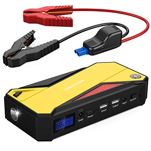 DBPOWER 600A 18000mAh Portable Car Jump Starter, Emergency Battery Booster Pack with Dual USB Charging Outputs, LED Flashlight and Compass (Black/Yellow)