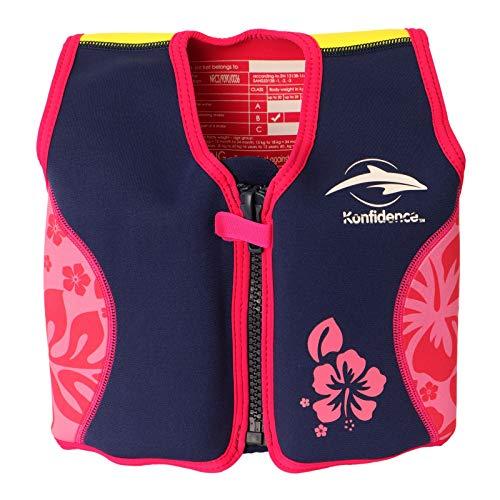 Konfidence Original Kinder Schwimmhilfe Neopren Weste (Pink- Hibiscus, ca. 1,5 - 3 Jahre)