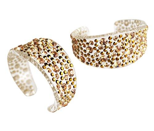 Adreani Lucite Bracelet incrusté de pierres en cristal Swarovski, Taille: XS Champagne+Dorado 2122