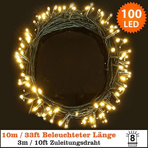 Lichterketten 100 LED warm Zeichenfolge Light 8 Funktionen/10 Meter Power Betrieb LED Lichtketten-ideal für Weihnachten LED Lichtkette (100 LED-10m)-grünes Kabel-innen und außen