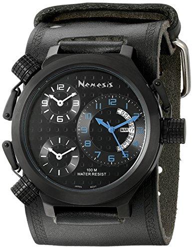 Nemesis KIN080KL - Reloj de pulsera Mujer hombre, Cuero, color Negro