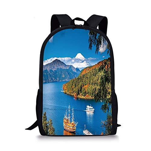 School Bags Pirate Ship,Lake Ashi Mount Fuji Japan Town Hakone Travel Touristic Destination Decorative,Green Blue Orange for Boys&Girls Mens Sport Daypack North Face Mens Mount