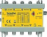 TechniSat TECHNIROUTER 5/1x16 Verteilung von Einem Satellit (4 SatBlöcke) auf einen Kabelstrang für 16 Teilnehmer, Silber-gelb