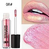12Colori Rossetto, Beauty Top Perla di metallo Liquido Pennarelli Kit Rossetti Lip Stick Trucco da Labbra (08#)