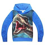 Vannie Kinder Dinosaurier Lustige Hoodie Kinder Graphic Tyrannosaurus Cooles Sweatshirt Cartoon Outdoor Pullover Atmungsaktive 100% Baumwolle Für Jungen Mädchen Teen von 3 bis 12 Jahre BU 150