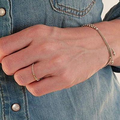 Bague Chaine Argent Femme - Bague Plaqué Or et Argent 925 - Bague chainette