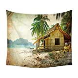Tapestry Wand Hängend Retro Seascape Coco Mandala Indische Tapisserien Hippie-Print, Tapestry Picknick Strand Tisch Tuch Zu Hause Dekor,B,150 * 200Cm