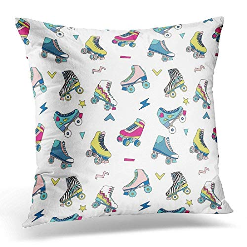 Colorful Rollerskate with Cute Retro Roller Skates Derby Vintage Decorative Pillow Case Home Decor Square 18x18 Inches Pillowcase (Vintage Roller Derby Skates)