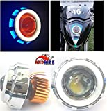 #2: Andride Projector Lamp High Intensity LED Headlight Stylish Dual Ring COB Inside Double Angel's Eye Ring Lens Projector For - All Bikes (White & Blue)