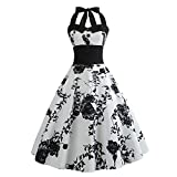 Weihnachten Kleider Damen Abendkleid Ballkleid Cocktail Party Swing Rockabilly 1950er Vintage Elegant Hepburn Hochzeit Spitzen Brautjungfern, Bodycon ärmelloses Halterkleid(13,Large)