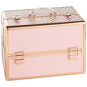 Beautify Professional Large Lockable Vanity Make Up Beauty Storage Case - Blush Pink Stripe