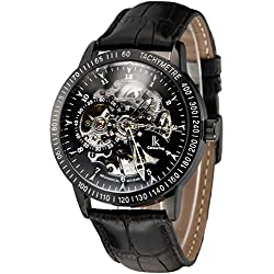 Alienwork IK Automatic Watch Self-winding Skeleton Mechanical Leather black black 98226-16