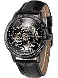 Alienwork IK Automatik Armbanduhr Herren Damen Uhr Leder Armband Lederarmband Lederband schwarz Automatikuhr Herrenuhr Damenuhr Skelett