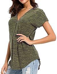 Qingsiy Mujeres Verano Moda Camisetas Suelta Pullover Casual Camisa Color Sólido Manga Co Blusa Elástico Tops