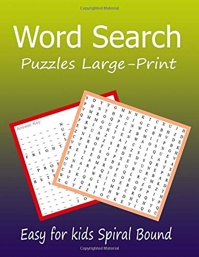 Word Search Puzzles Large-Print Easy for kids Spiral Bound: Easy Words Puzzle Book Word Search 30 Puzzles por judy midterm