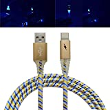 LED Ladekabel Für Samsung S9, Siswong 1M Typ-C Micro USB Superlang Geflochten Aluminium 3.1 Twist Sync Datenkabel Netzkabel Ladegerät Kabel (Gold)