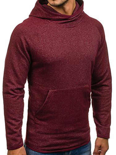 BOLF Herren Kapuzenpullover Sweatshirt Langarmshirt Pulli Hoodie Basic 1A1 Weinrot_1685