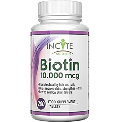 Biotin Hair Growth Vitamins 10000MCG 200 6mm Tablets MONEY BACK GUARANTEE UK Made BUY 2 GET FREE UK DELIVERY 6 Month + Supply Best Supplements for Hair Loss Best Beauty Treatment for Men and Women - Incite Nutrition Biotin B7 Complex Better Than Shampoo N