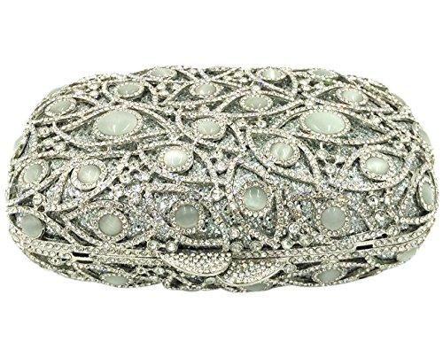Borsa Donna Pochette Sera Borsetta Portafoglio Partito Cerimonia Sposa Spalla Frizioni Eleganti Argento Silver