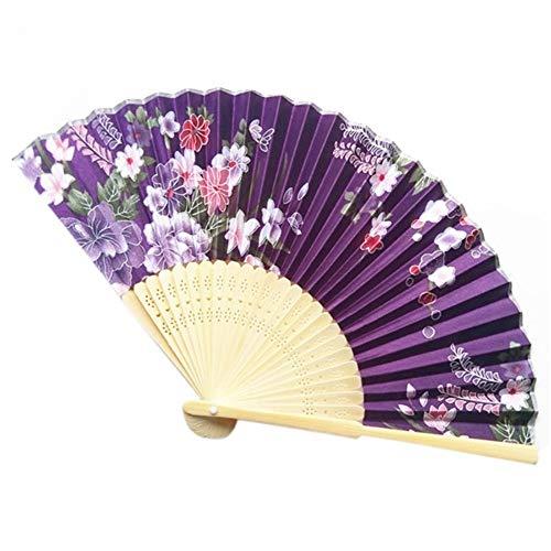 XIAOHAIZI Handfächer,Pflanze Blume Lila Hintergrund Retro Chinesischen Stil Thema Faltfächer Drucken Kirschblüte Tasche Hand Fan Sommer Kunsthandwerk Geschenk