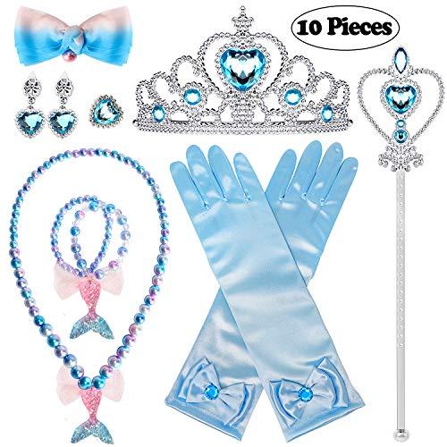Joinfun 10 Pcs Prinzessin Zubehör Schneeflocke Set Mädchen ELSA Handschuhe Crown Zauberstab Halskette Ohrringe Ring Party Verkleiden Blau (Meerjungfrau)